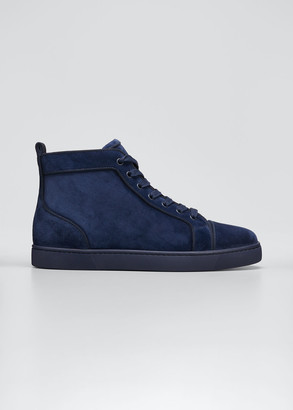Christian Louboutin Men's Louis Orlato Tonal Suede Mid-Top Sneakers