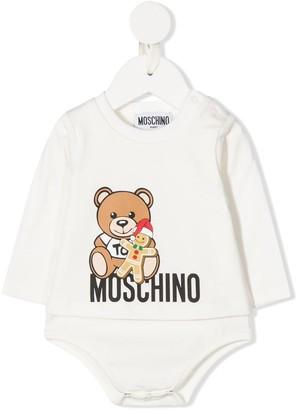 MOSCHINO BAMBINO Logo-Print Crew Neck Bodysuit
