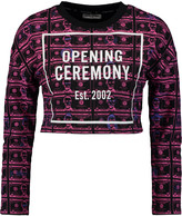 Opening Ceremony Cropped printed cotton-terry sweatshirt
