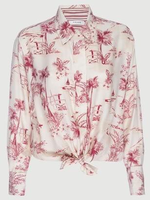 Frame Silk Tie Up Toile Shirt