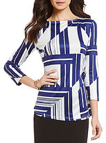 Preston & York Samantha Round Neck 3/4 Sleeve Printed Knit Blouse