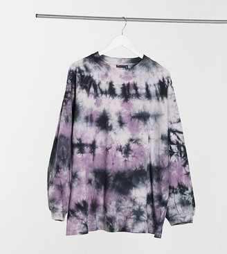 ASOS DESIGN Curve oversized longsleeve t-shirt in bleached pink tie dye