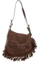 Fendi Embroidered Suede Oyster Bag