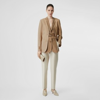 Burberry Straight Fit Stretch Wool Tailored Trousers