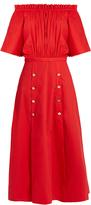 Saloni Dakota off-the-shoulder stretch-cotton midi dress