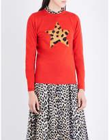Bella Freud Ladies Black Leopard Classic Iggy Star Merino Wool-Blend Jumper