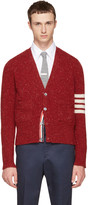 Thom Browne Red Classic Mohair V-neck Cardigan