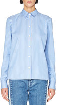 Stella McCartney Striped Colorblock Button-Front Blouse, Blue/White