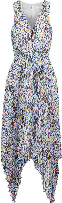 Derek Lam 10 Crosby Pleated Printed Crepe De Chine Midi Dress