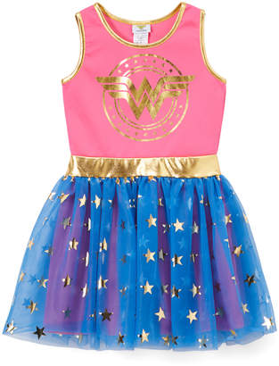 Jerry Leigh Girls' Casual Dresses BLUE/BLACK - Wonder Woman Blue & Red Star A-Line Dress - Girls