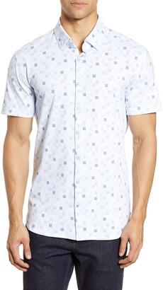Stone Rose Short Sleeve Tech Knit Button-Up Shirt