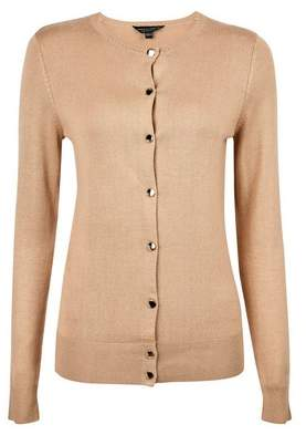 Dorothy Perkins Womens Petite Camel Gold Button Cardigan