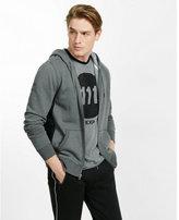 Express fleece waffle detailed zip-up hoodie