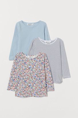 H&M 3-pack Jersey Tops - Turquoise