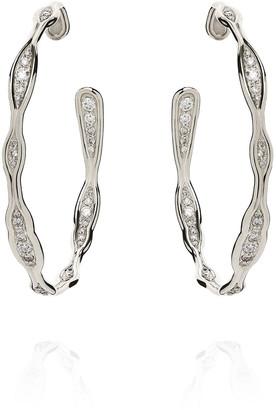 Fernando Jorge Fluid Diamond Hoop Earrings in 18k White Gold
