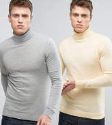 Asos 2 Pack Roll Neck Muscle Fit Jumper In Yellow/ Grey Save