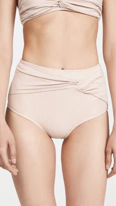 Jonathan Simkhai Metallic Front Twist Bikini Bottoms
