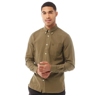 Fred Perry Mens Classic Oxford Long Sleeve Shirt Nettle