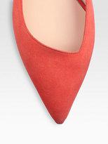 Giorgio Armani Asymmetrical Suede Ballet Flats