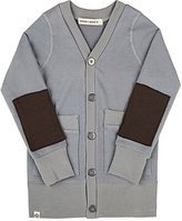 Lennon and Wolfe Patch-Sleeve French Terry Cardigan-GREY