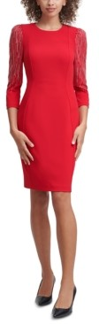 Calvin Klein Petite Embellished-Sleeve Sheath Dress