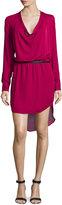 Haute Hippie Long-Sleeve Cowl-Neck Shirtdress, Garnet