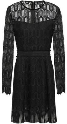 Just Cavalli Fringe-trimmed Guipure Lace Dress