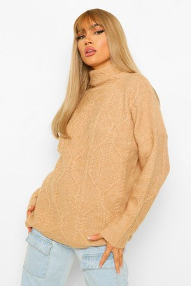 boohoo All Over Cable Knit roll/polo neck Jumper
