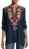 Johnny Was Blossom Tab-Sleeve Embroidered Blouse, Petite