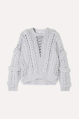 IRO Fresh Cable-knit Cotton-blend Sweater - Light gray