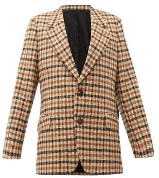Ami Single-breasted Checked Wool Blazer - Womens - Brown Multi