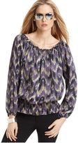 MICHAEL Michael Kors Top, Scoop Neck Long Sleeves Printed Peasant Blouse