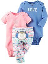 Carter's Baby Girl 3-pc. Graphic Bodysuits & Pants Set