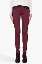 RAG & BONE Burgundy Combo Leather Back Jeans