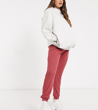 New Look Maternity ribbed trackies in berry