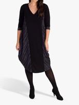 Chesca chesca Holey Ribbed Midi Dress, Black/Grey