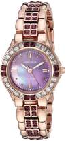 Swarovski Armitron Women's 75/3689VMRG Amethyst Colored Crystal Accented -Tone Watch