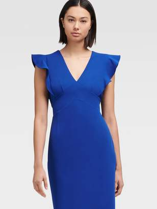 DKNY Sheath Dress With Ruffle Cap Sleeve