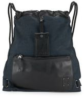 Diesel Leather & Fabric Drawstring Bag
