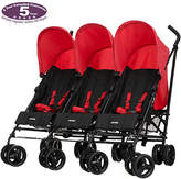 O Baby Obaby Mercury Triple Stroller - Black and Red