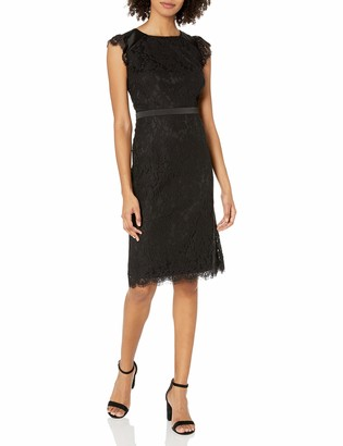 Kensie Women's Lace Midi Length Party Sheath Dress with Tie Back