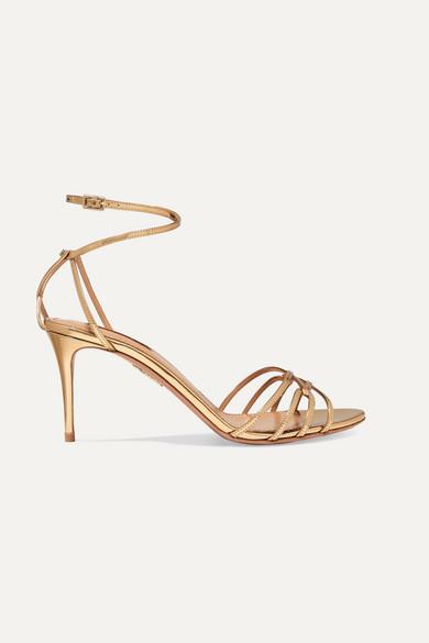 Aquazzura Very First Kiss 75 Metallic Leather Sandals - Gold