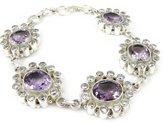 Les Trésors De Lily Silver bracelet 'Heaven' amethyst.
