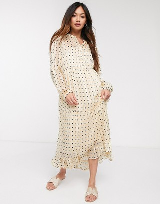 Vila tiered maxi shirt dress in polka dot
