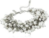 Nina Peony Silver-Tone, Simulated Pearl, and Crystal Bracelet