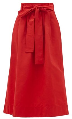 STAUD Snoop Belted Cotton-blend Midi Skirt - Red