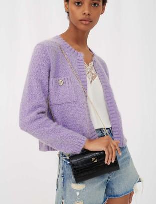 Maje Lurex cardigan with jewel buttons