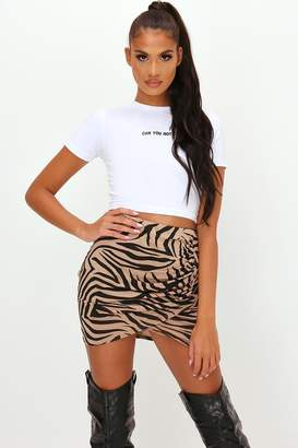 I SAW IT FIRST Brown Zebra Print Ruched Front Wrap Mini Skirt