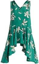 Isa Arfen V-neck ruffled magnolia-print silk top