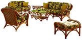 Spice Islands Wicker Caneel Bay 6-Piece Living Room Furniture Set, Lucian Flynt Fabric